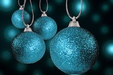 Free Blue Christmas Baubles On Strings Stock Photo - 15513630
