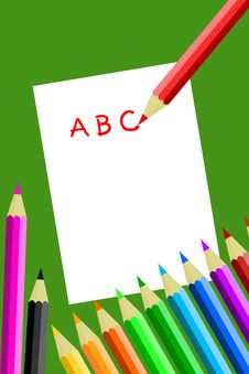 Free Colored Pencils Writing Abc Royalty Free Stock Images - 15513829