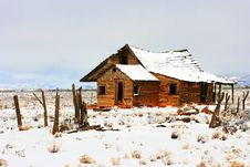Free Abandoned Homestead On Prairie In Winter Snows Stock Image - 15514571