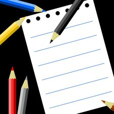 Free Colored Pencils And Notepads Royalty Free Stock Image - 15515556