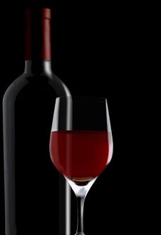 Free Red Wine Glass & Bottle Royalty Free Stock Images - 15515689