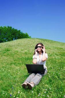 Free Woman With Notebook And  Phone Sit On Hill Stock Photos - 15516063