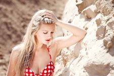 Young Beautiful Girl In A Bathing Suit Stock Photography