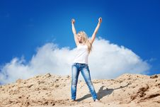 Free Girl Against The Dark Blue Sky Royalty Free Stock Image - 15516976