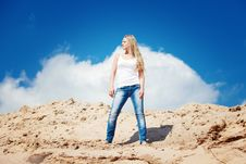 Free Girl Against The Dark Blue Sky Royalty Free Stock Image - 15516996