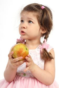 Free Child With Pigtails Eating Ripe Apple Royalty Free Stock Image - 15517466