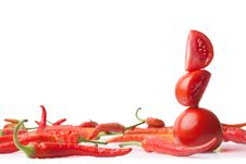 Fresh Red Pepper And Tomato Stock Photo