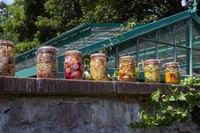 Free Colorful Jars In Kitchengarden. Royalty Free Stock Images - 15519469