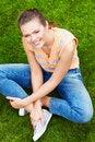Free Woman Sitting On Grass Stock Image - 15524811