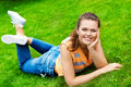 Free Pretty Teen On Green Grass Stock Images - 15524864