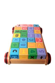 Blocks In Toy Cart With Clipping Path