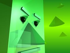 Green Abstract Head Stock Photography