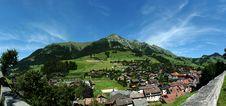 Panorama Chateau D Oex, Switzerland Stock Image