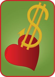 Free Dollar Sign And Heart Royalty Free Stock Photography - 15522007