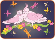 Two Birds On A Branch With Flowers Royalty Free Stock Images