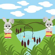 Free Two Nice Fishing Hares With Robs Stock Images - 15522274