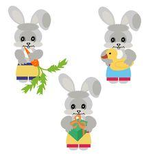 Three Nice Hares Stock Photos