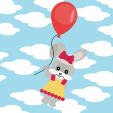 Hare With Balloon In Sky Stock Photography