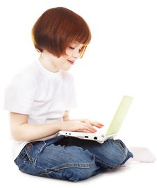 Free Little Girls With A Laptop Royalty Free Stock Photo - 15522715