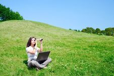 Free Woman With Spyglass And Notebook On Grass Royalty Free Stock Photography - 15523217