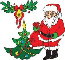 Free Santa Claus ,christmas Tree And Bell. Royalty Free Stock Photo - 15523565