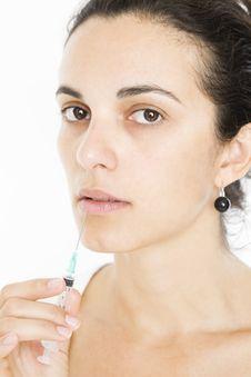 Free Syringe Close To Womans Lips Stock Photo - 15524280