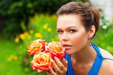 Free Woman In Blue With Roses Stock Image - 15524451