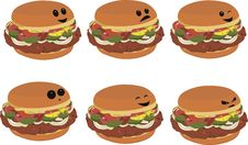 Free Fast Food Faces - Hamburger Royalty Free Stock Image - 15524776