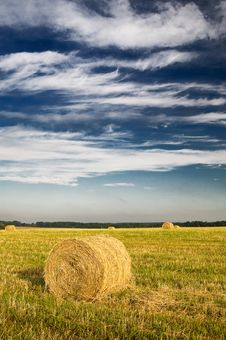 Free Field With Bales Against Tender Clouds. Stock Photography - 15525402