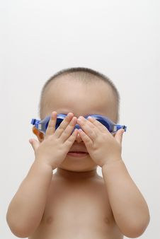 Boy With Swimming Goggles Royalty Free Stock Photo
