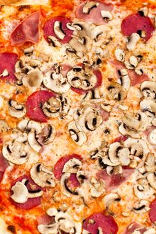 Free Big Party Pizza Salami,mushrooms And Vegetable-iso Royalty Free Stock Image - 15526856