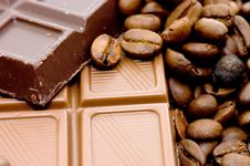 Background From Coffee Beans And Chocolate Stock Images