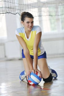Free Girls Playing Volleyball Indoor Game Stock Photography - 15527052