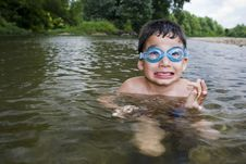 Free Boy In Goggles In Creek Stock Image - 15527561