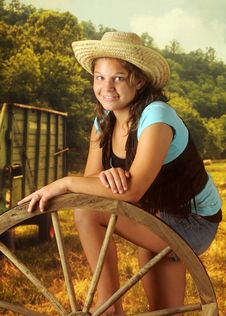 Free Cowgirl In The Field Royalty Free Stock Photo - 15527805