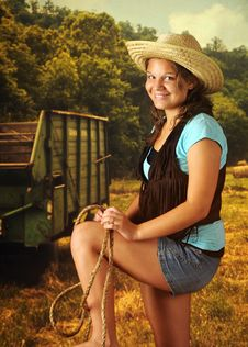 Free Cowgirl With A Rope Stock Photography - 15527812