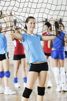 Free Girls Playing Volleyball Indoor Game Stock Photo - 15527930
