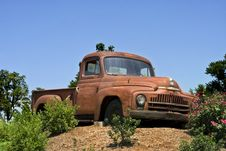 Antique Truck On Hill Royalty Free Stock Photo