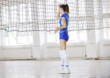 Free Girls Playing Volleyball Indoor Game Royalty Free Stock Image - 15529906