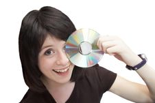 Free Happy Girl With CD Stock Photos - 15529933