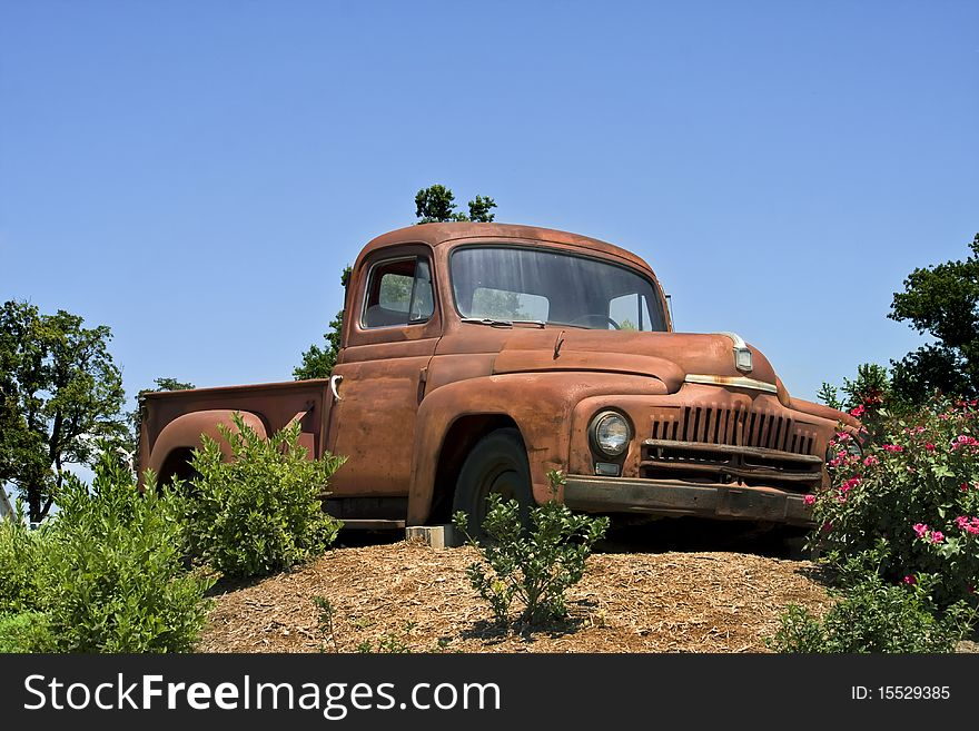 Antique truck on hill