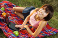 Free Lovely Girl On Picnic Stock Photography - 15539552