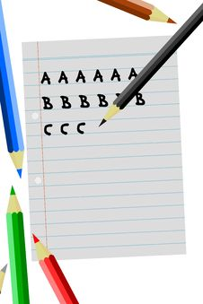 Free Colored Pencils Writing Abc Royalty Free Stock Photos - 15530648