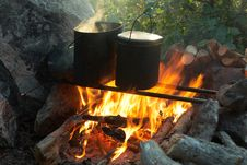 Kettles Over Campfire Royalty Free Stock Photography