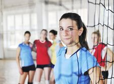 Girls Playing Volleyball Indoor Game Stock Photography