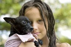Free Young Girl Holding Her Puppy Royalty Free Stock Photos - 15531278