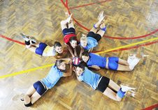 Girls Playing Volleyball Indoor Game Royalty Free Stock Photo