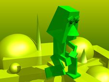 Green Abstract Man Stock Photos