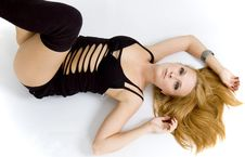 Sexy Girl Lying On The Ground Royalty Free Stock Image