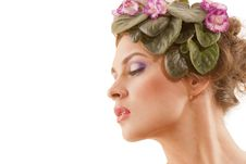 Free Beautiful Girl With A Wreath Of Flowers Royalty Free Stock Photography - 15533247